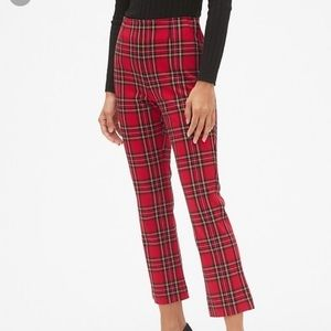 Red plaid crop flare pants